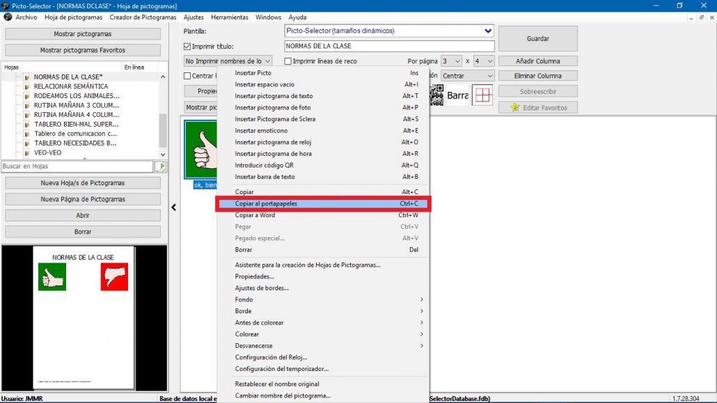 Picto Selector – 9 – Menú contextual de los pictogramas – Aula ...